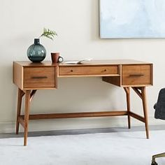 Shop mid-century modern desk from west elm. Find a wide selection of furniture and decor options that will suit your tastes, including a variety of mid-century modern desk. Wall Desk, Desk Shelves, Home Office Furniture, Modern Furniture, 70s Furniture, Modular Furniture, Furniture Dolly, Furniture Design, Antique Furniture