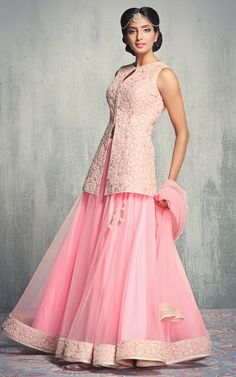 pastel pink blouse, sleeveless kurts, pink net lehenga, gold mathapatti