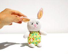 Pastel Bunny / Pocket Pal / Softie / Plush / by FruityCocoIsland on etsy.