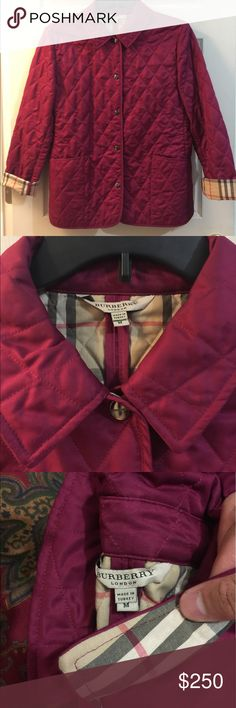 W's SZ M Burberry Cranberry House Check Quilt Jack ALWAYS AUTHENTIC  Please don't offer to trade, nor for that matter, a different payment. But please feel free to message me any questions or offers! I'm very opened to working something out with you :)  Condo: 9/10  Retail: $595 Purchased: Neiman Marcus  Flaws: Worn a lot, but has no signs of wear, and is still impeccable! Burberry Jackets & Coats
