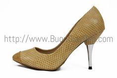 Giày cao gót bọc kim loại Solosoprani, chất liệu da thật, chiều cao 7cm