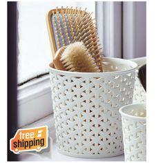 Curver Faux Rattan Dresser Storage Pot Medium Hair Brushes Make Up Scissors Pens