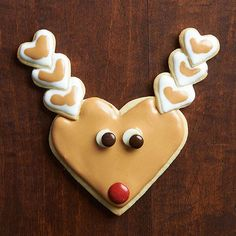 Heart-Shape Reindeer Sugar Cookies - fun idea for class party cookie decorating