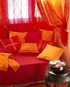 Interior home house design living room guest room day bed daybed orange pink bohemian exotic romantic reading nook