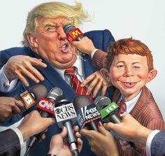 Alfred E. Neumann, Trump Cartoon, Mad Magazine, Cnn Politics, New Fox, Good Humor, Biography, Illustrators, Donald Trump