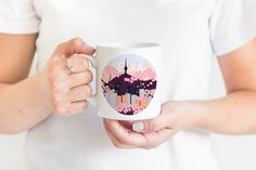 Seoul South Korea Mug, Cityscape Illustration Mug with Cherry Blossoms, Great Gift for K-Pop Fan ets Moomin Cafe, Cherry Blossoms, I Fall In Love, Fashion Prints, South Korea, Seoul, Nerdy, Great Gifts, Kpop