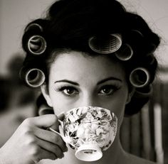 hair rollers and coffee!