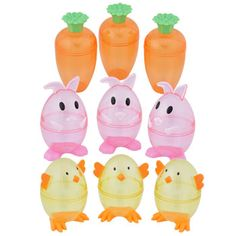 """Adorable translucent containers are perfect for filling with candy, toys, and more! Each container stands between 3½"""" and 4"""" tall and is ideal for Easter baskets, prize boxes, goodie"""