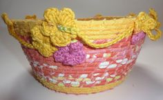 coiled fabric baskets in colourful cottons - flights of fantasy Clothes Line, Straw Bag, Weaving, Pottery, Fabric, Bowls, Baskets, Cotton, Projects