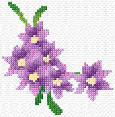 Cross Stitch   Purple Flowers Corner xstitch Chart   Design