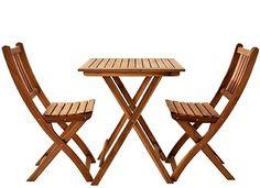 Klappstuhl  3-teiliges Set – Das stilvolle Set besteht aus einem Gartentisch mit einer Fläche von 60 x 60 cm und zwei Gartenstühlen. Somit bietet die Balkongruppe genug Platz für Sie und Ihren Partner. Hochwertige Materialien – Das Balkonset besteht aus massivem und gut verarbeitetem Akazienholz, welches durch seine natürliche Optik und seinen individuellen Charakter beeindruckt. Geeignet für kleine Balkone – Dieses zeitlose Gartenmöbel findet nicht nur in jedem Garten, sondern auch auf dem… Outdoor Chairs, Outdoor Furniture Sets, Outdoor Decor, Partner, Home Decor, Products, Small Balconies, Folding Chair, Summer