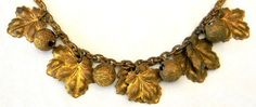Vintage 1930s Miriam Haskell Style Leaves and Bells Gilded Brass Necklace. $75.00, via Etsy.