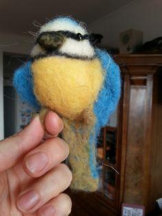 needle felted bird, tűnemezelt cinke