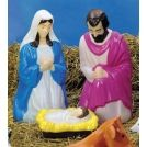 """Painted Nativity Set. 3 piece 28"""" tall Painted plastic blow mold Includes C7 bulb for illumination. Price: $104.99"""