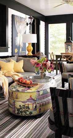 Brights accent the dark grey & black...very chic!