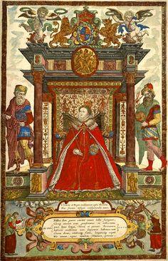 Elizabeth Portrait Frontispiece from Saxton's Atlas