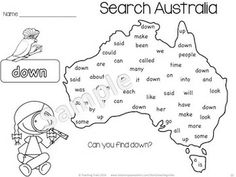 time; sight  words; words; australia cvc sight Patterning; words printables O'clock Counting Sorting