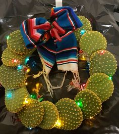 Another beautiful Holiday Cactus wreath from El Paso Texas Cactus Christmas Trees, Mexican Christmas Decorations, Fiesta Decorations, Christmas Tablescapes, Xmas Decorations, Mexico Christmas, Christmas Art, Christmas Holidays, Christmas Wreaths
