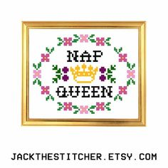PDF ONLY Nap Queen  Subversive Modern Cross Stitch Template Pattern Instant PDF Download by JackTheStitcher