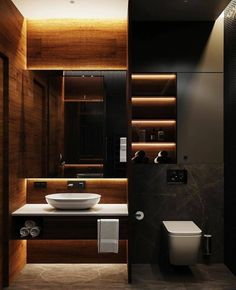 There's something so sublime about dark bathroom colors against an illuminated backdrop. There's something so sublime about dark bathroom colors against an illuminated backdrop. Washroom Design, Toilet Design, Bathroom Design Luxury, Modern Bathroom Design, Home Interior Design, Exterior Design, Interior Designing, Interior Ideas, Modern Interior