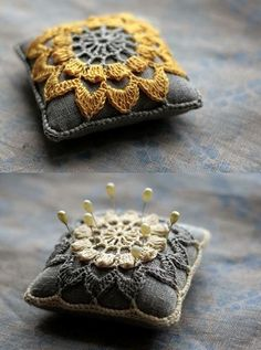 Pincushion with Crochet Embellishment    Ok, So this one doesnt have instructions, but it would be pretty easy to find a square ( or round) pincushion and crochet up a simple motif to attatch to it. You could easily use thiss to decorate cushions or pillows as well. craft-ideas