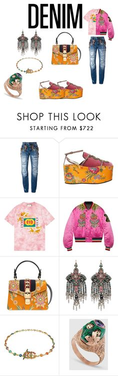 """""""Gucci This, Gucci That"""" by sanvernetas ❤ liked on Polyvore featuring Dolce&Gabbana, Gucci, gucci and distresseddenim"""
