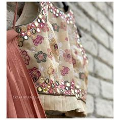 No photo description available. Hand Work Blouse Design, Blouse Neck Designs, Blouse Patterns, Baby Shower Dresses, Hand Embroidery Designs, Kids Fashion, Women's Fashion, Flower Girl Dresses, Lehenga