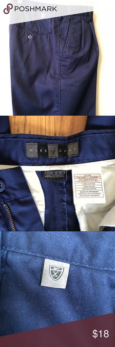 Nike Golf Pants - Pleated Cotton 33 x 30 Men's Nike navy pleated golf pants. 100% cotton. Excellent condition. Washed once, never worn. Soft cotton, great casual pant. Color is navy blue. W33 L30 From a pet/smoke free home. Nike Pants Chinos & Khakis