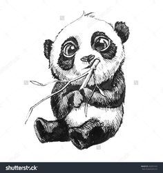 stock-photo-cute-adorable-baby-panda-bear-illustration-hand-drawn-sketch-of-panda-bear-eating-bamboo-isolated-252931525.jpg (1500×1600)
