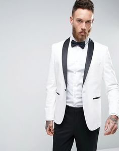 Woven fabric Contains stretch for comfort Lined with internal pocket Shawl lapels Single button opening Functional pockets Back vent Slim fit - cut close to the body Dry clean 66% Polyester, 31% Viscose, 3% Elastane. #slimtuxedo #tuxidojacket #contrastlapelTuxido #whiteTuxido #prom #mensProm #menswear #mensStyle