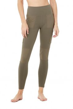 Alo Yoga High-Waist Cargo Legging - Olive Branch - Size XS - Signature Airbrush Fabric #CelluliteCream