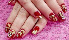unhas decoradas vermelho chick
