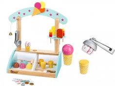 Cool! A huge fun for the little ice cream vendor provides the fully equipped ice cream stand. Supplied with 6 different ball, 4 waffles, ice lollies, an ice cre