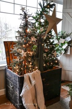 "sunflowersandsearchinghearts: "" Christmas tree forest in a crate - Day 11 """