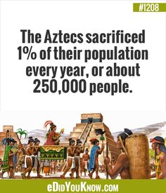 the aztecs sacrificed of their population every year, or about people Wow Facts, True Facts, Funny Facts, Weird Facts, Strange Facts, Interesting Information, Interesting History, Interesting Facts, Random Facts