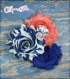 Baby Headband Hair Accessories Coral Blue Shabby by CrowningPetals, $13.50