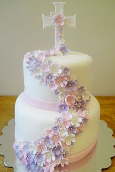 Delicate flowers Communion cake by Whimsy Girls Cakes: