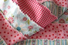 Strip baby blanket, made from flannel strips--simple for baby gifts.