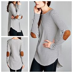 """IT'S HERE Striped top with elbow patches condition: new with tags retail price: $38 details: - Semi-loose fit, long sleeve, round neck, hi-low top w/ rounded hems - Faux suede elbow patch on sleeves - Heavy weight striped knit fabric-soft, drapes well, has stretch - Cotton, Polyester, Rayon - 2 small, 2 medium, and 2 large - DO NOT BUY THIS LISTING.  Comment and I will make a personalized listing. - measurements across: S-17"""", M-18"""", L-19""""   Price firm unless bundled. No trades. Ask ?s…"""