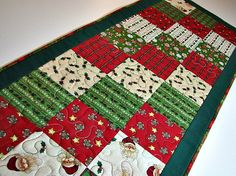 Quilted Table Runner, Christmas Patchwork Table Mat, Red and Green Table Runner, Quiltsy Handmade by VillageQuilts on Etsy