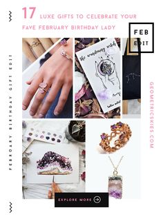 17 luxe gifts to celebrate your fave February birthday lady: our 17 favourite February themed items including amethyst rings, earrings, necklaces and more to celebrate the gorgeous Aquarius gal in your life! February Gemstone, February Birthstone Necklace, Amethyst Geode, Amethyst Jewelry, Amethyst Rings, Trendy Fashion Jewelry, Fashion Jewelry Necklaces, Fashion Jewellery, Vases