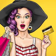 Illustration about Comic woman. Pop art woman on shopping. Woman with bank card. Illustration of attractive, beauty, credit - 84207073 Photo Pop Art, Farmasi Cosmetics, Pop Art Women, Vintage Advertising Posters, Pop Art Girl, Pop Art Illustration, Party Poster, Girl Face, Female Art