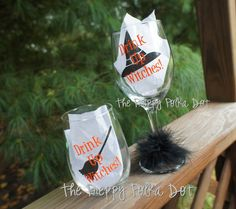 Drink Up Witches Halloween Wine Glass