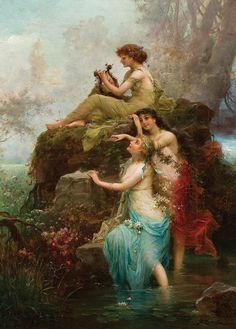 """Symphony of the Water Nymphs. Hans Zatzka (Academic, Austrian, 1859-1945). Oil on canvas. From murals andfrescoes, Zatzka turned to painting guardian angel images, elves, sensuous female figures, genre scenes, allegories and other popular motifs. He was a greatly influenced by the operas of Richard Wagner and considered ground-breaking in the production of """"bedroom pictures"""" or """"towel format"""", describing the format that fit the low ceiling and cramped spaces, the 1920s style of choice."""