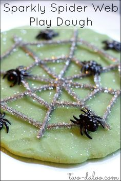 Make sparkly play dough and use as the base for a spooky spider web of glitter…