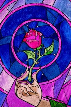 Stained Glass Rose From Beauty The Beast