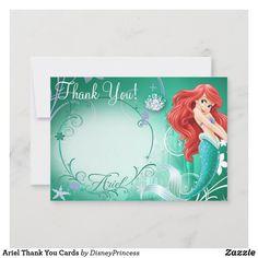 Little Mermaid Birthday, Disney Birthday, Thank You Card Size, Custom Thank You Cards, 1st Birthday Invitations, Zazzle Invitations, Party Invitations, Kids Stationery, First Birthday Parties
