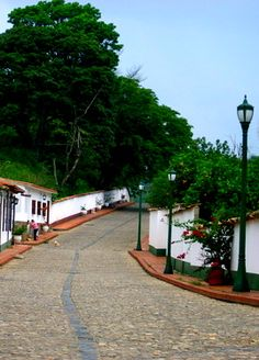 Calle colonial de piedra, San Pedro del Río, Táchira Venezuela