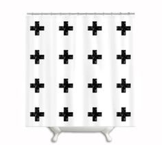 Fabric Shower Curtain,Watercolor Swiss Cross, Bath, Shower, Home Decor,White and Black, Geometric,Plus Sign,Color Block, Custom on Etsy, $62.00