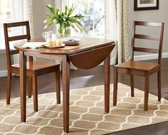 Drop Leaf Table Dining Set Wood Chairs 3 Piece Small Spaces Kitchen Furniture  #DropLeafTableDiningSet #Classic